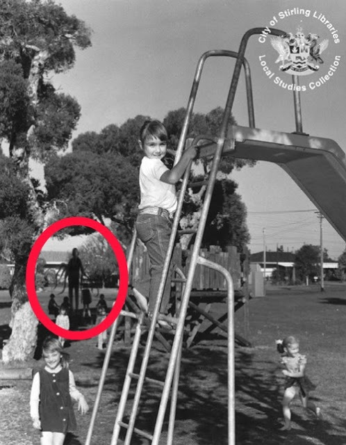 "Has the great Spaghetti God shown himself to these children? Here's another ""Shadow Person"" PHOTO CREDIT: Haunted America"